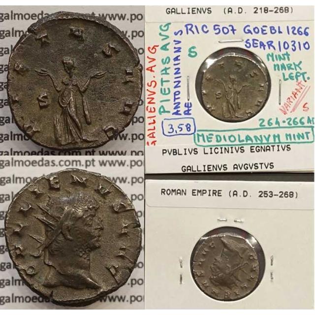 GALLIENUS - ANTONINIANO - GALLIENVS AVG / PIETAS AVG (264-266 d.C) (253 d.C A 268 d.C