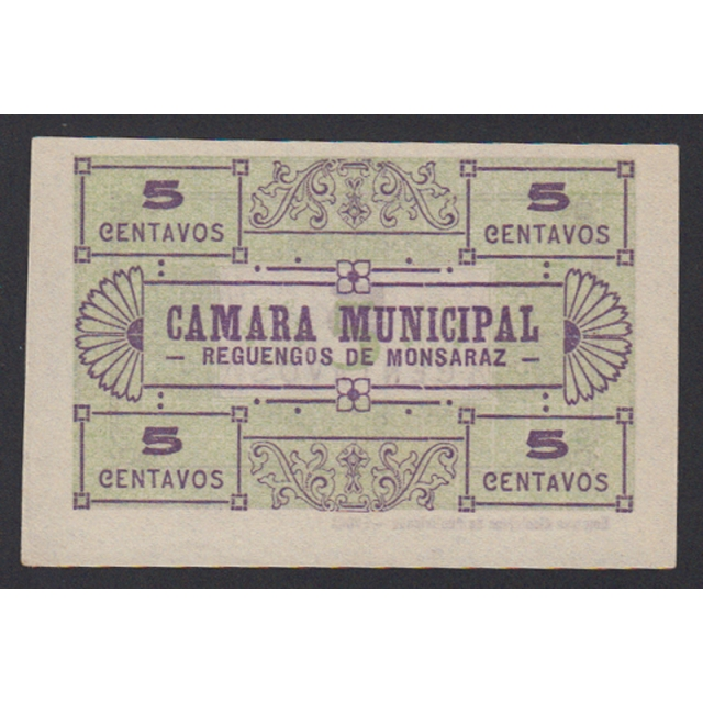 CÉDULA CÂMARA MUNICIPAL DE REGUENGOS DE MONSARAZ - VALE 5 CENTAVOS (NÃO CIRCULADA)