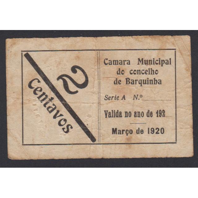 CÉDULA CÂMARA MUNICIPAL DA BARQUINHA - VALE 2 CENTAVOS (CIRCULADA)