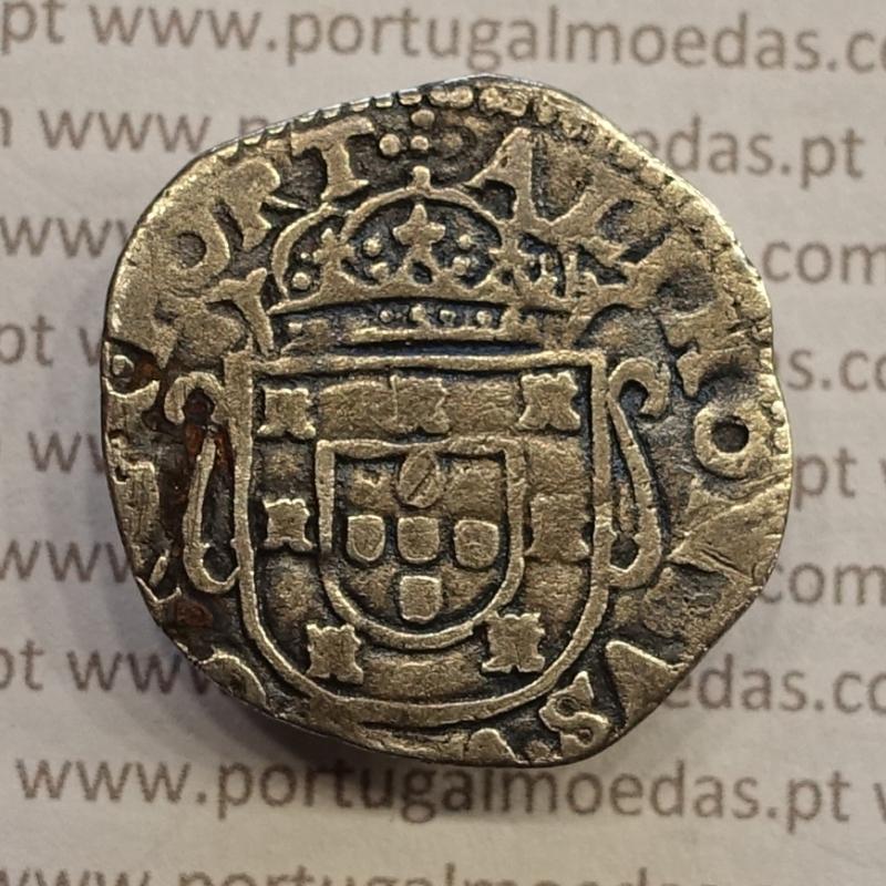 MOEDA TOSTÃO PRATA 1656-1667 (MBC) - D. AFONSO VI - VARIANTE COROA SEPARAÇÃO POR DOIS PONTOS