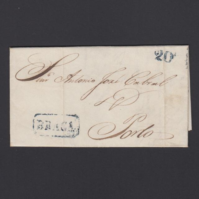 Pré-Filatélica circulada de Braga para Porto datada 23-07-1852