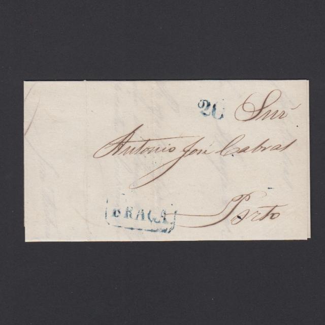 Pré-Filatélica circulada de Braga para Porto datada 15-10-1851
