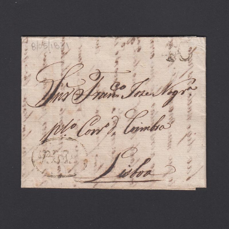 Pré-Filatélica circulada de Vila Real para Lisboa datada 08-05-1831