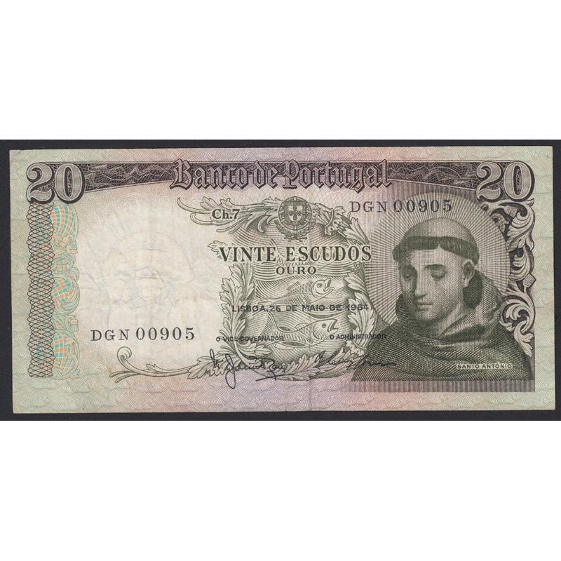 """NOTA DE 20 ESCUDOS 1964 ( CIRCULADA ) """"20$00 1964 Ch.7 SANTO ANTÓNIO - BANCO DE PORTUGAL (26/05/1964)"""