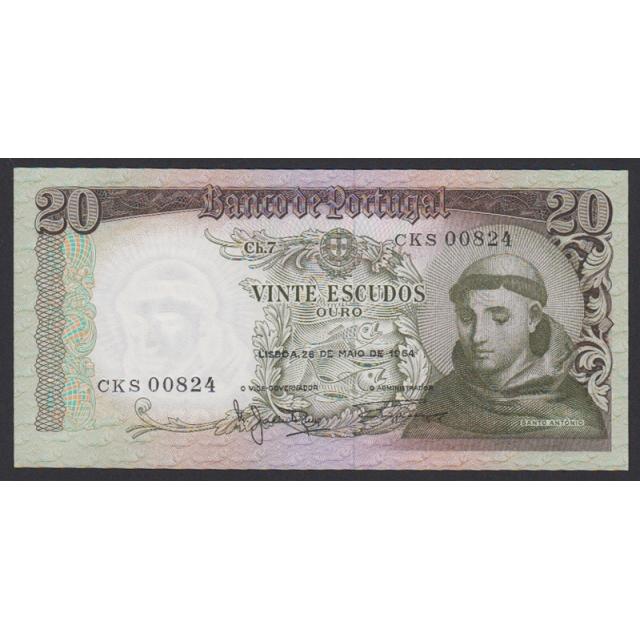 """NOTA DE 20 ESCUDOS 1964 ( MUITO POUCO CIRCULADA ) """"20$00 1964 Ch.7 SANTO ANTÓNIO - BANCO DE PORTUGAL (26/05/1964)"""