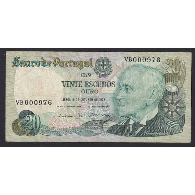 "NOTA DE 20 ESCUDOS 1978 ( CIRCULADA ) ""20$00 1978 Ch.9 GAGO COUTINHO - BANCO DE PORTUGAL (04/10/1978)"