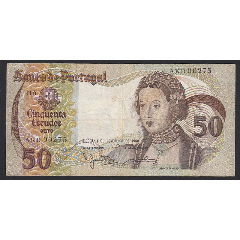 """NOTA DE 50 ESCUDOS 1980 ( CIRCULADA ) """"50$00 1980 Ch.9 INFANTA D.MARIA - BANCO DE PORTUGAL (01/02/1980)"""