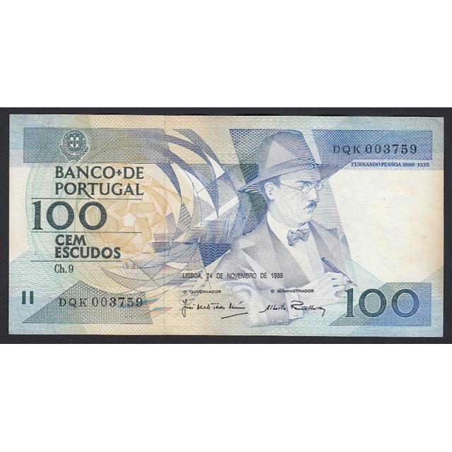 """NOTA DE 100 ESCUDOS 1988 ( MUITO POUCO CIRCULADA ) """"100$00 1988 Ch.9 FERNANDO PESSOA - BANCO DE PORTUGAL (24/11/1988)"""