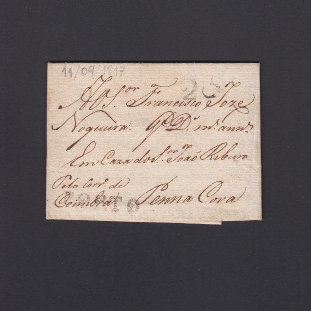 Pré-Filatélica circulada do Porto para Pena Cova datada 11-09-1817