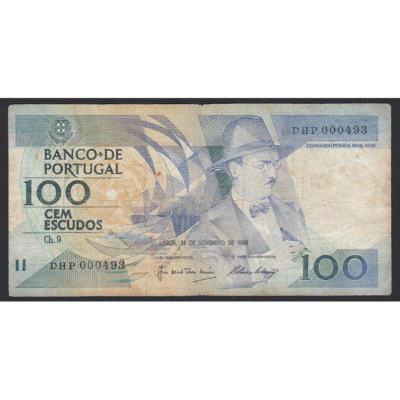 """NOTA DE 100 ESCUDOS 1988 ( CIRCULADA ) """"100$00 1988 Ch.9 FERNANDO PESSOA - BANCO DE PORTUGAL (24/11/1988)"""