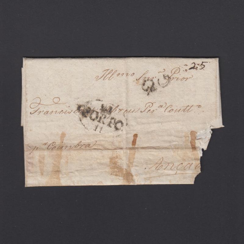Pré-Filatélica circulada do Porto para Ançã datada 24-11-1824