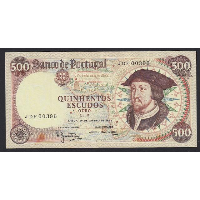 """NOTA DE 500 ESCUDOS 1966 ( POUCO CIRCULADA ) """"500$00 1966 Ch.10 D.JOÃO II - BANCO DE PORTUGAL (25/01/1966)"""