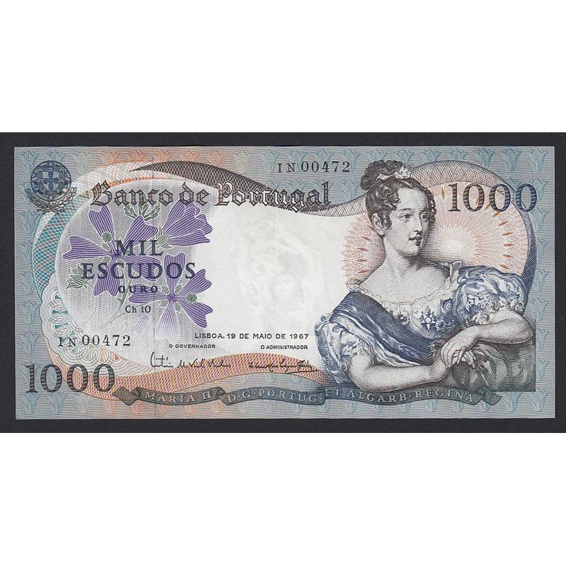 """NOTA DE 1000 ESCUDOS 1967 ( MUITO POUCO CIRCULADA ) """"1000$00 1967 Ch.10 D.MARIA II - BANCO DE PORTUGAL (19/05/1967)"""