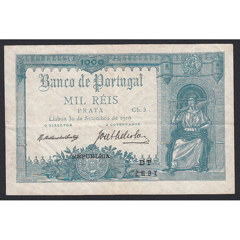 """NOTA DE 1000 REIS PRATA 1910 ( CIRCULADA ) """" Ch.3 - BANCO DE PORTUGAL (30/09/1910)"""
