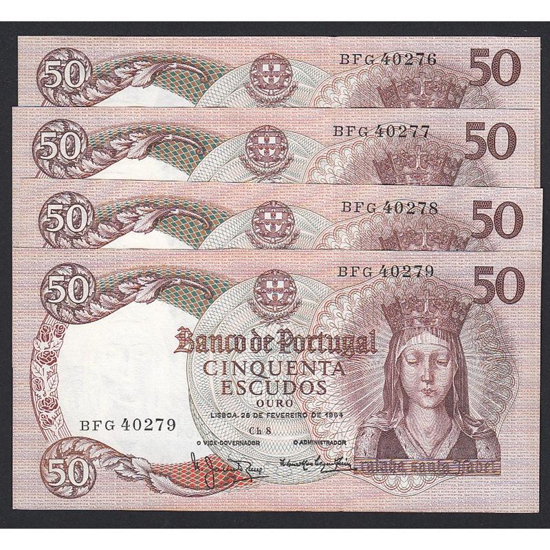 """LOTE DE 4 NOTAS COM NÚMEROS SEGUIDOS - 50 ESCUDOS 1964 ( MUITO POUCO CIRCULADAS ) """"50$00 1964 Ch.8  RAINHA SANTA ISABEL"""
