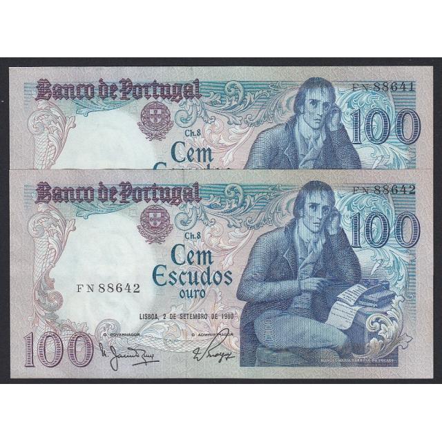 """LOTE DE 2 NOTAS C/ NÚMEROS SEGUIDOS - 100 ESCUDOS 1980 (NÃO CIRCULADAS) """"100$00 1980 Ch.8 BOCAGE - BANCO DE PORTUGAL(02/09/1980)"""