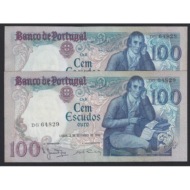 """LOTE DE 2 NOTAS C/ NÚMEROS SEGUIDOS - 100 ESCUDOS 1980 (MUITO POUCO CIRCULADAS) """"100$00 1980 Ch.8 BOCAGE - (02/09/1980)"""