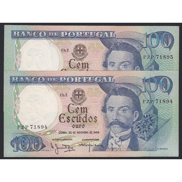 """LOTE DE 2 NOTAS C/ NÚMEROS SEGUIDOS - 100 ESCUDOS 1965 (MUITO POUCO CIRCULADAS) """"100$00 1965 Ch.7. CAMILO CASTELO BRANCO"""