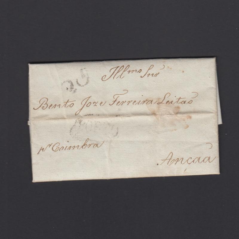 Pré-Filatélica circulada do Porto para Ançã datada 23-02-1830