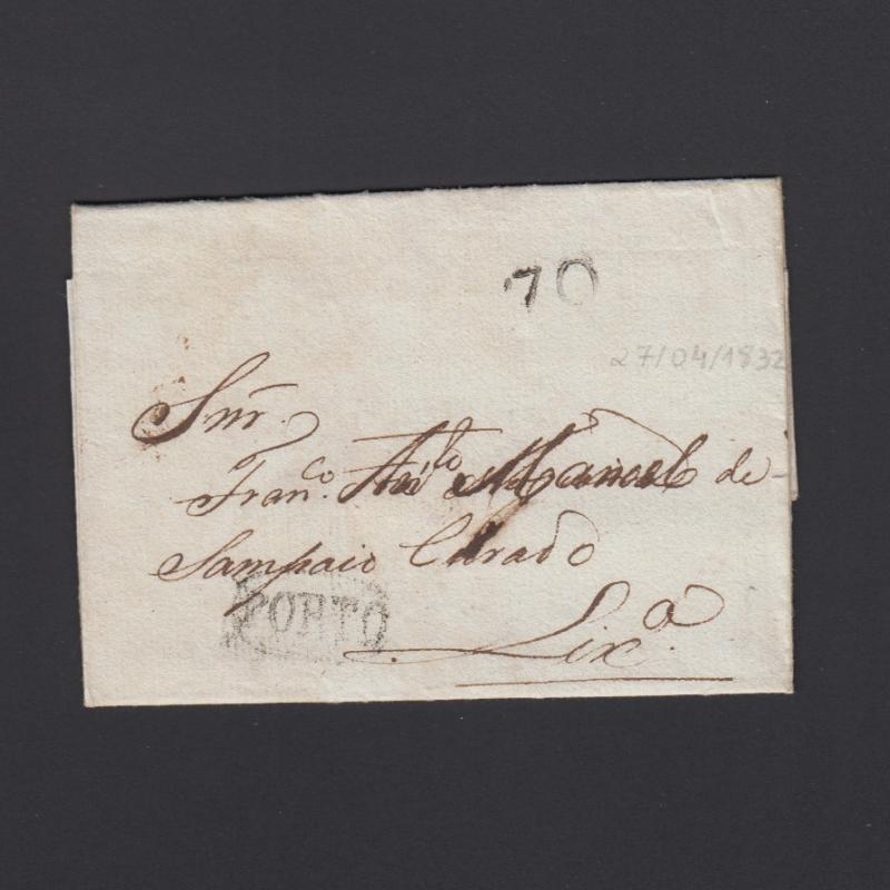 Pré-Filatélica circulada do Porto para Lisboa datada 27-04-1832