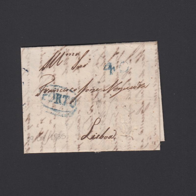 Pré-Filatélica circulada do Porto para Lisboa datada 09-08-1835
