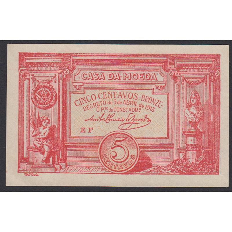 CÉDULA OFICIAL CASA DA MOEDA - 5 CENTAVOS 1918 ( NÃO CIRCULADA )