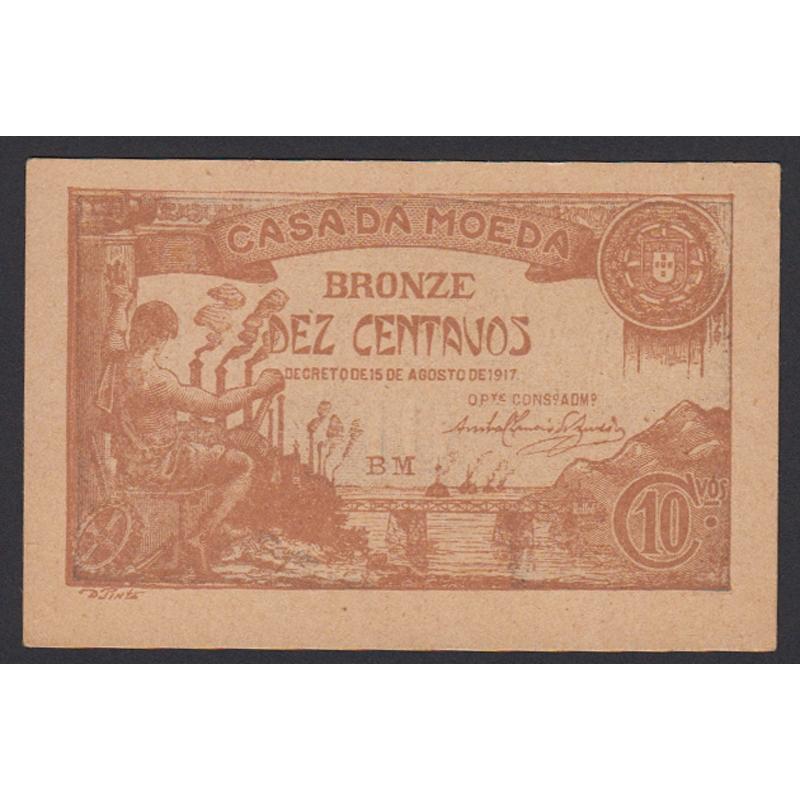 CÉDULA OFICIAL CASA DA MOEDA - 10 CENTAVOS 1917 ( NÃO CIRCULADA )