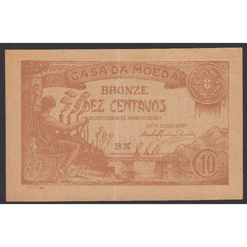 CÉDULA OFICIAL CASA DA MOEDA - 10 CENTAVOS 1917 ( POUCO CIRCULADA )
