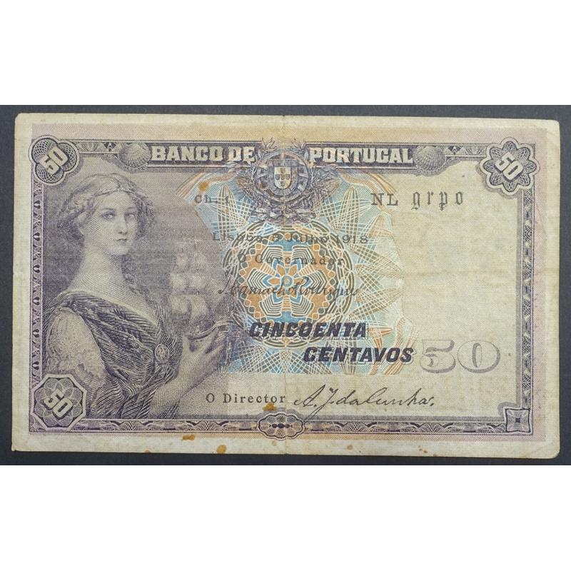 "NOTA DE 50 CENTAVOS 1918 ( CIRCULADA ) "" $50 1918 Ch.1 - BANCO DE PORTUGAL (05/07/1918)"