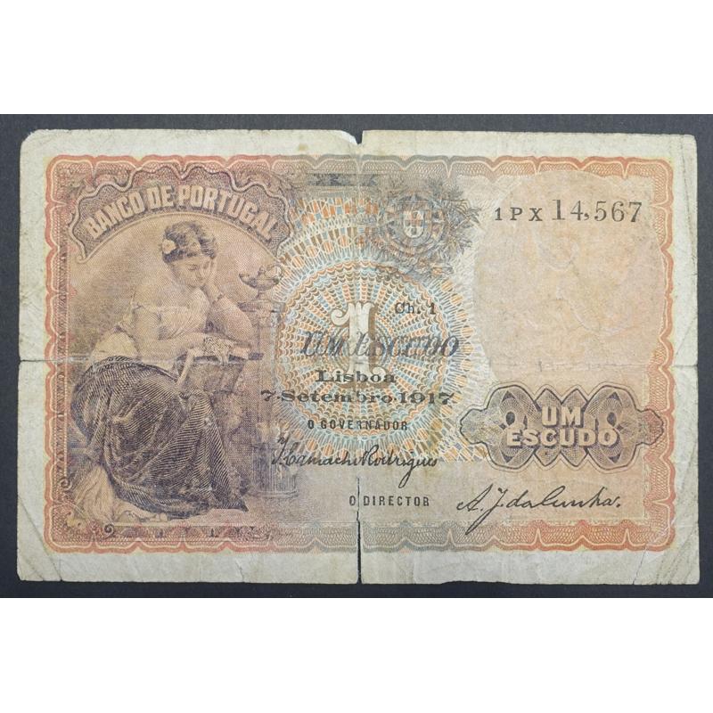 """NOTA DE 1 ESCUDO 1917 ( CIRCULADA ) """"1$00 1917 Ch.1 - BANCO DE PORTUGAL (07/09/1917)"""