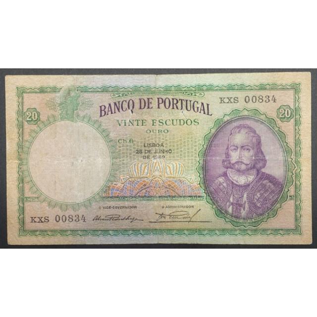 "NOTA DE 20 ESCUDOS 1949 ( CIRCULADA ) ""20$00 1949 Ch.6 D.ANTONIO LUIZ DE MENEZES - BANCO DE PORTUGAL (28/06/1949)"