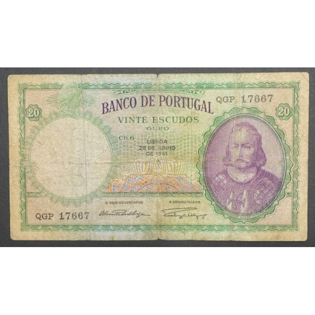 "NOTA DE 20 ESCUDOS 1951 ( CIRCULADA ) ""20$00 1951 Ch.6 D.ANTONIO LUIZ DE MENEZES - BANCO DE PORTUGAL (26/06/1951)"