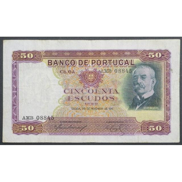 """NOTA DE 50 ESCUDOS 1941 ( CIRCULADA ) """"50$00 1941 Ch.6A RAMALHO ORTIGÃO - BANCO DE PORTUGAL (25/11/1941)"""