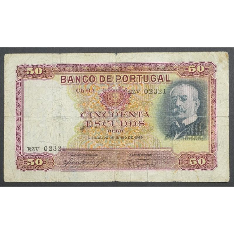 """NOTA DE 50 ESCUDOS 1949 ( CIRCULADA ) """"50$00 1949 Ch.6A RAMALHO ORTIGÃO - BANCO DE PORTUGAL (28/06/1949)"""