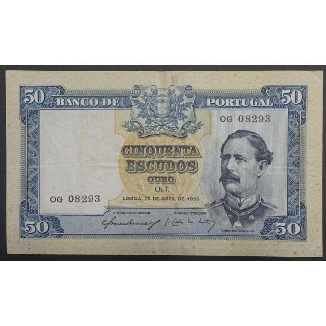 """NOTA DE 50 ESCUDOS 1953 ( CIRCULADA ) """"50$00 1953 Ch.7 FONTES PEREIRA DE MELLO - BANCO DE PORTUGAL (28/04/1953)"""