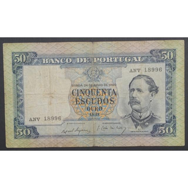 """NOTA DE 50 ESCUDOS 1960 ( CIRCULADA ) """"50$00 1960 Ch.7A FONTES PEREIRA DE MELLO - BANCO DE PORTUGAL (24/06/1960)"""