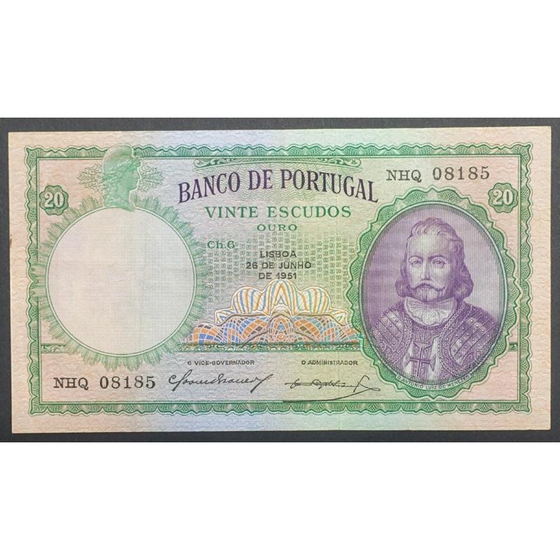 """NOTA DE 20 ESCUDOS 1951 (POUCO CIRCULADA ) """"20$00 1951 Ch.6 D.ANTONIO LUIZ DE MENEZES - BANCO DE PORTUGAL (26/06/1951)"""