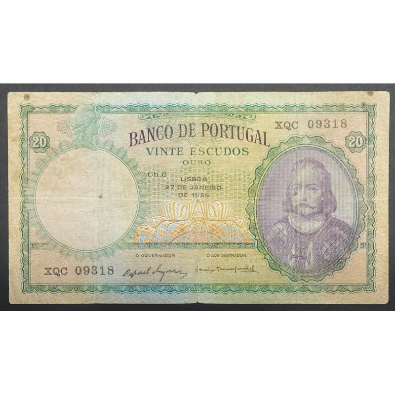 "NOTA DE 20 ESCUDOS 1959 ( CIRCULADA ) ""20$00 1959 Ch.6 D.ANTONIO LUIZ DE MENEZES - BANCO DE PORTUGAL (27/01/1959)"