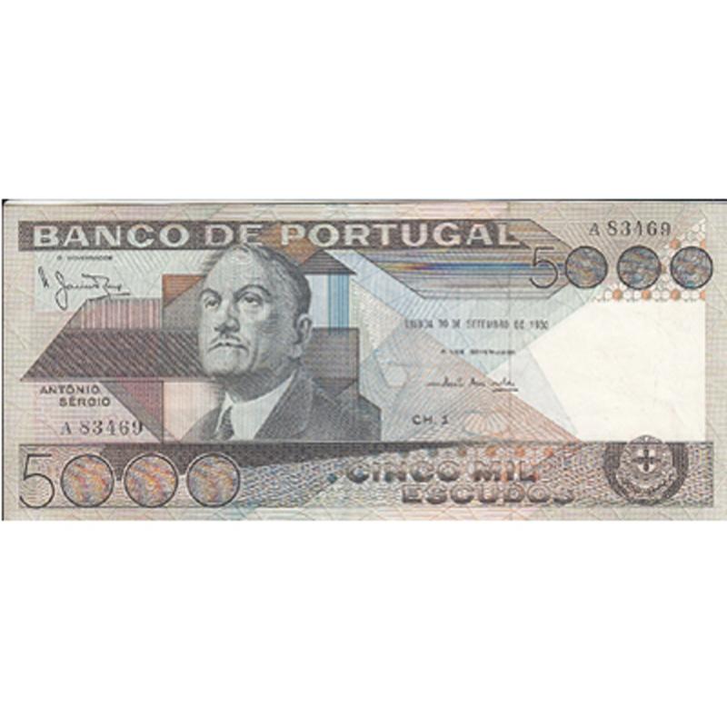 PORTUGAL - NOTA DE 5000 ESCUDOS 1980 ANTÓNIO SÉRGIO Ch.1- 5000$00