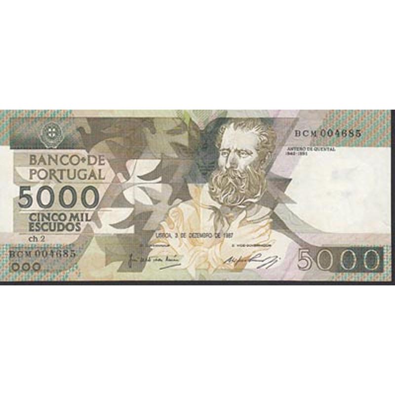 PORTUGAL - NOTA DE 5000 ESCUDOS 1987 ANTERO DE QUENTAL Ch.2 - 5000$00