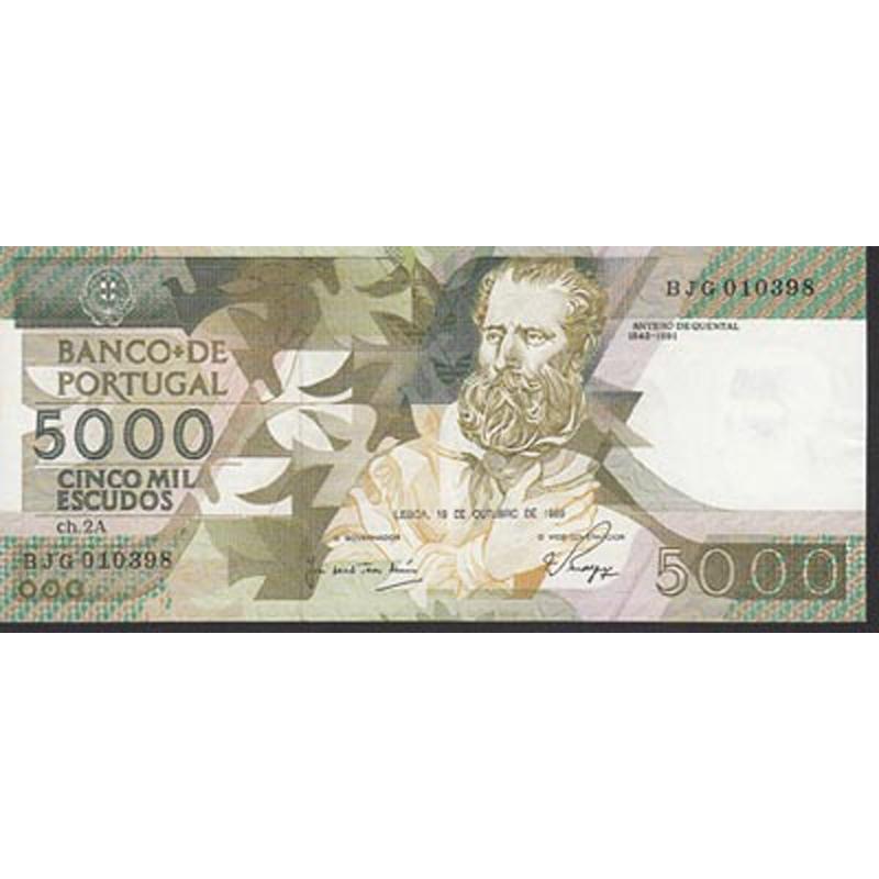 PORTUGAL - NOTA DE 5000 ESCUDOS 1989 ANTERO DE QUENTAL Ch.2A - 5000$00