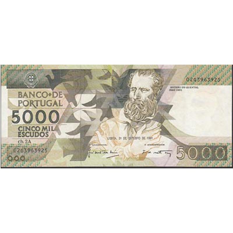 PORTUGAL - NOTA DE 5000 ESCUDOS 1991 ANTERO DE QUENTAL Ch.2A - 5000$00