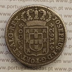 "MOEDA DOZE VINTÉNS PRATA (240 RÉIS) 1762 ""JOSEPHUS"" DIADEMA LOZANGO 1 PONTOS (MBC) - D. JOSÉ I"