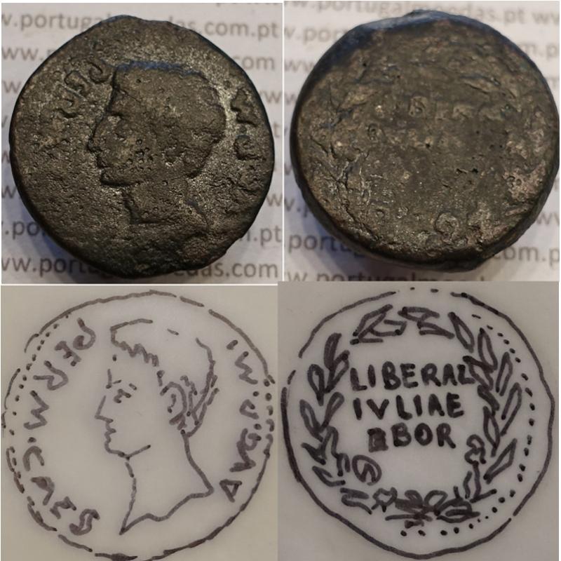 MOEDA IBÉRICA ASSE EM COBRE - LIBERALITAS IVLIA - EBORA ( PORTUGAL / ÉVORA ) LEG. 3 LINHAS (ANO 12 a.C.)