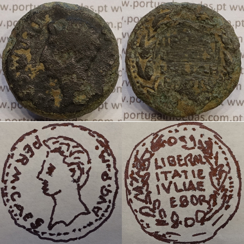 MOEDA IBÉRICA ASSE EM COBRE - LIBERALITAS IVLIA - EBORA ( PORTUGAL / ÉVORA ) LEGENDA 4 LINHAS (ANO 12 a.C.)