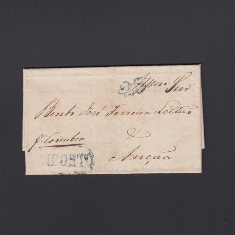 Pré-Filatélica circulada do Porto para Ançã datada 14-08-1836