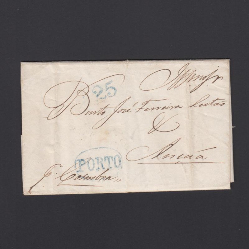 Pré-Filatélica circulada do Porto para Ançã datada 13-02-1837