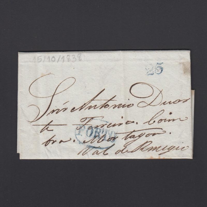 Pré-Filatélica circulada do Porto para Vale Remigio datada 15-10-1838