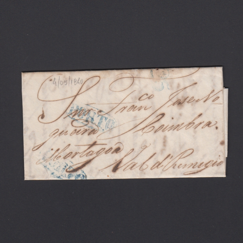 Pré-Filatélica circulada do Porto para Vale de Remigio datada 14-05-1840