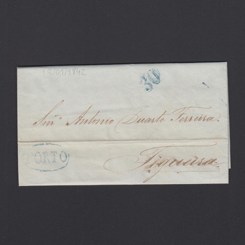 Pré-Filatélica circulada do Porto para Figueira datada 18-01-1842